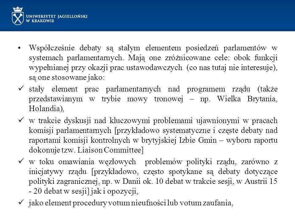 Współcześnie debaty są stałym elementem posiedzeń parlamentów w systemach parlamentarnych. Mają one zróżnicowane cele: obok funkcji wypełnianej przy okazji prac ustawodawczych (co nas tutaj nie interesuje), są one stosowane jako: