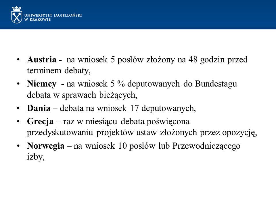 Austria - na wniosek 5 posłów złożony na 48 godzin przed terminem debaty,