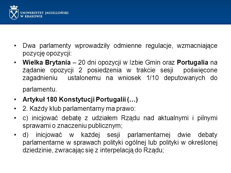 Dwa parlamenty wprowadziły odmienne regulacje, wzmacniające pozycję opozycji: