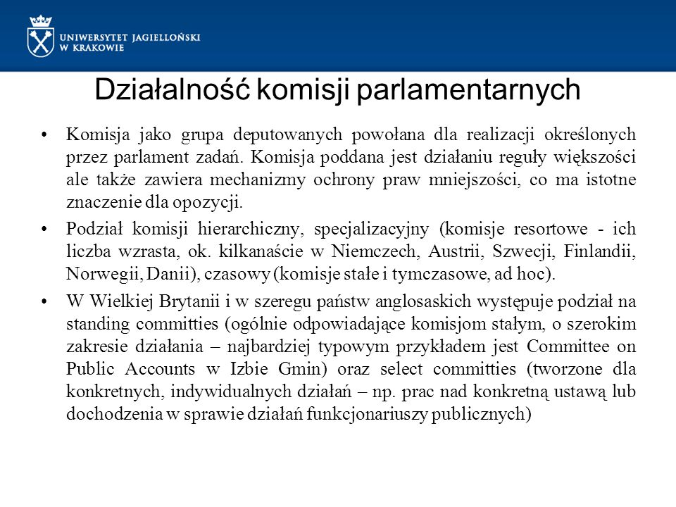 Działalność komisji parlamentarnych