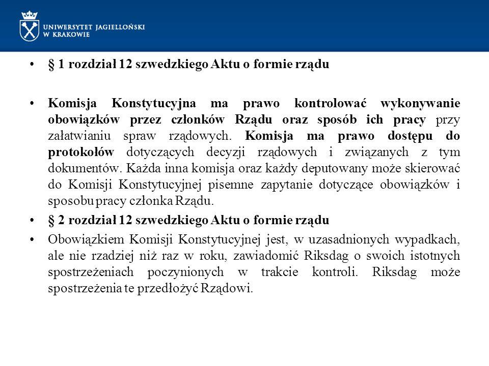 § 1 rozdział 12 szwedzkiego Aktu o formie rządu