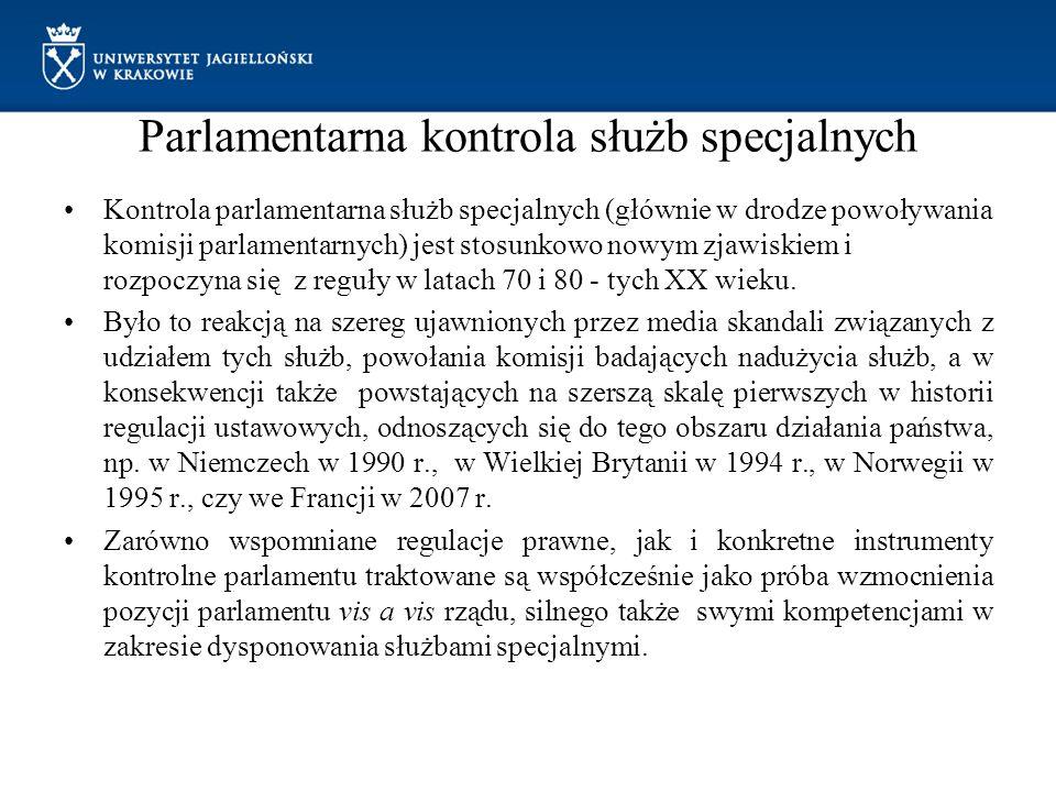 Parlamentarna kontrola służb specjalnych
