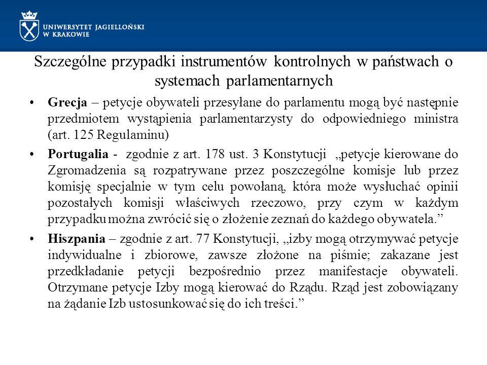 Szczególne przypadki instrumentów kontrolnych w państwach o systemach parlamentarnych