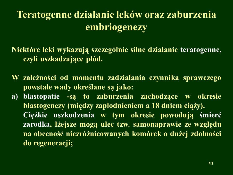 Teratogenne działanie leków oraz zaburzenia embriogenezy