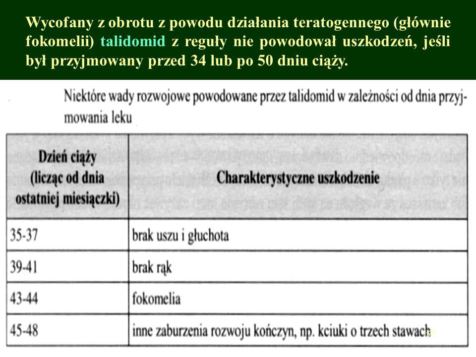 Wycofany z obrotu z powodu działania teratogennego (głównie fokomelii) talidomid z reguły nie powodował uszkodzeń, jeśli był przyjmowany przed 34 lub po 50 dniu ciąży.
