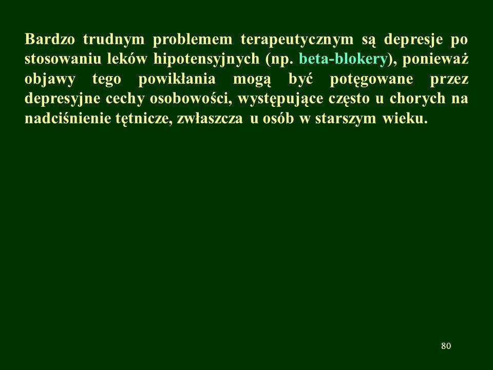 Bardzo trudnym problemem terapeutycznym są depresje po stosowaniu leków hipotensyjnych (np.