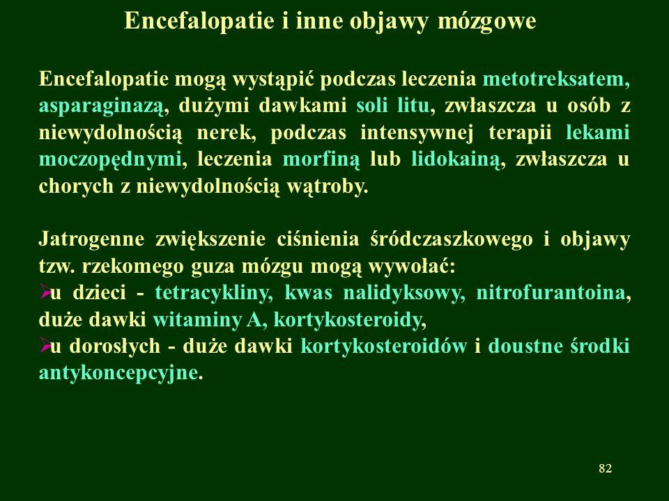 Encefalopatie i inne objawy mózgowe