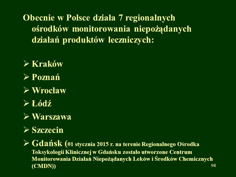 Obecnie w Polsce działa 7 regionalnych ośrodków monitorowania niepożądanych działań produktów leczniczych: