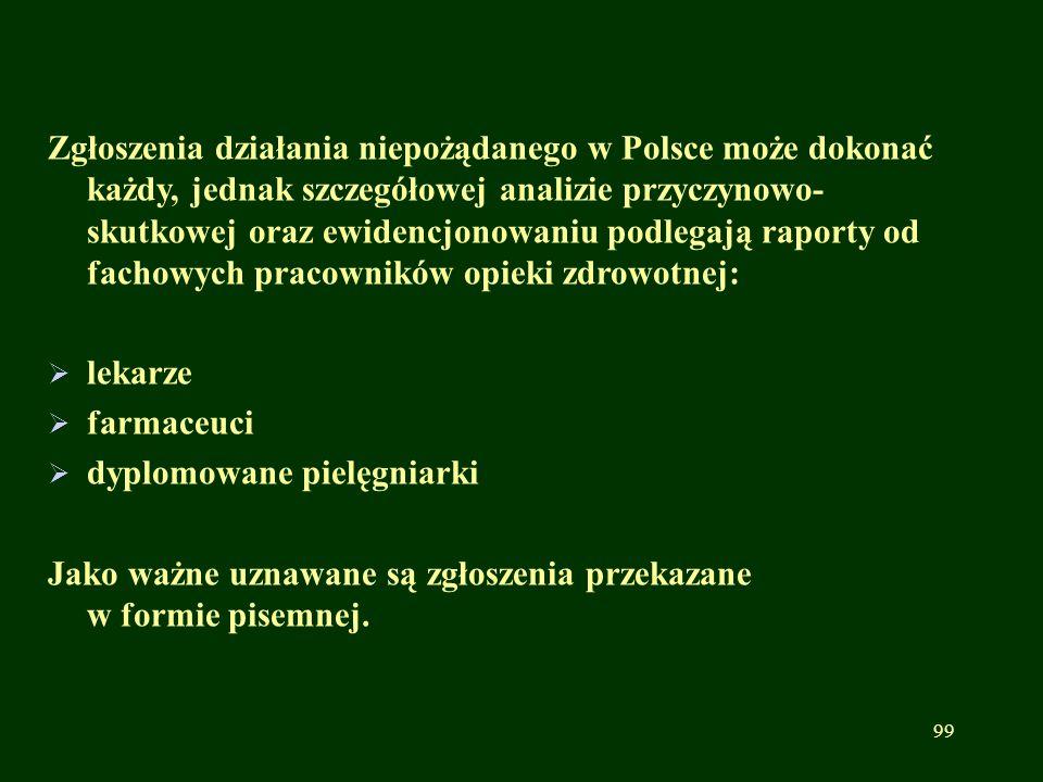 Zgłoszenia działania niepożądanego w Polsce może dokonać każdy, jednak szczegółowej analizie przyczynowo-skutkowej oraz ewidencjonowaniu podlegają raporty od fachowych pracowników opieki zdrowotnej: