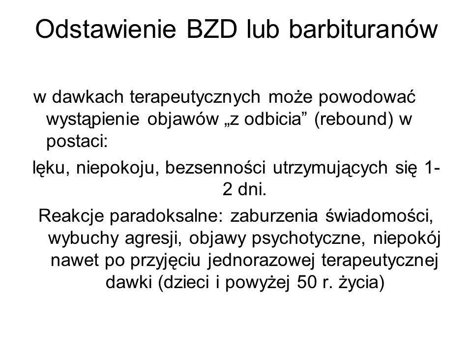 Odstawienie BZD lub barbituranów