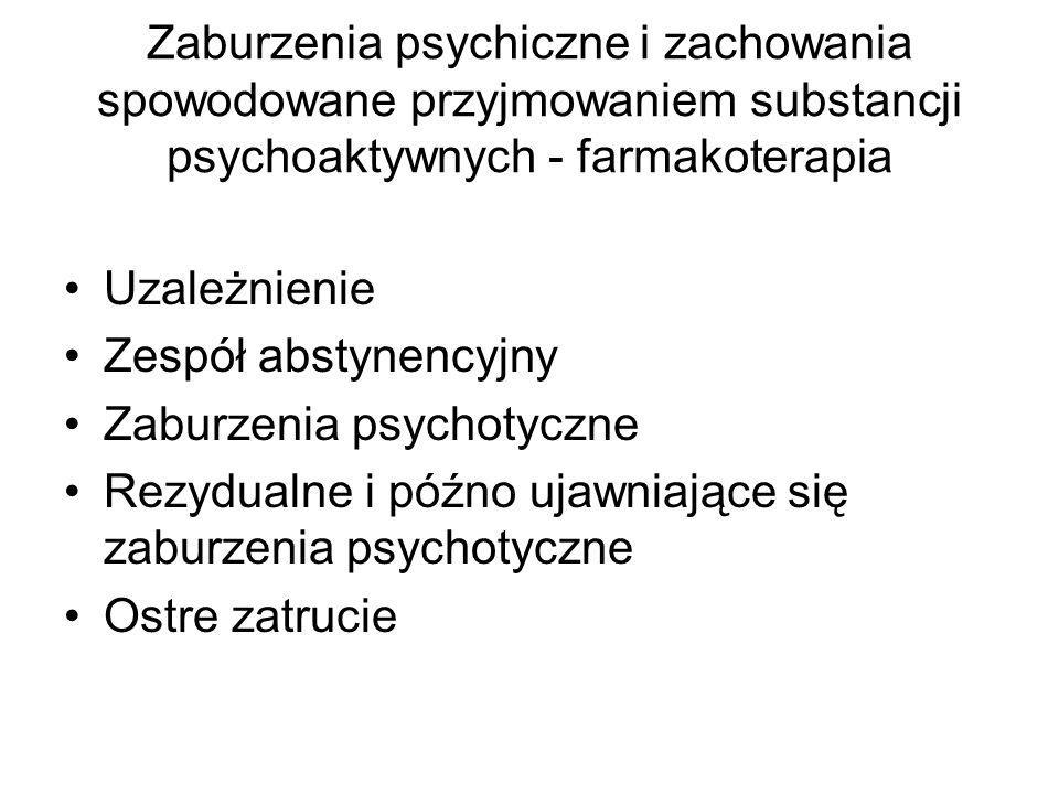 Zaburzenia psychiczne i zachowania spowodowane przyjmowaniem substancji psychoaktywnych - farmakoterapia