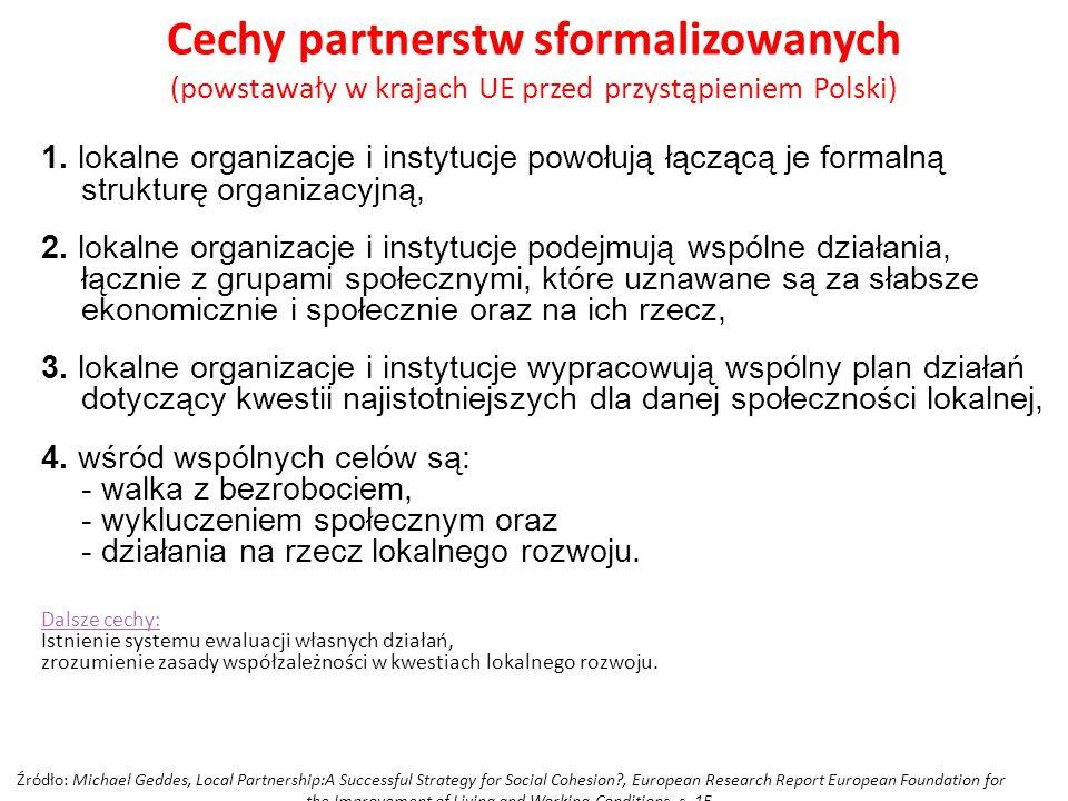 Cechy partnerstw sformalizowanych (powstawały w krajach UE przed przystąpieniem Polski)
