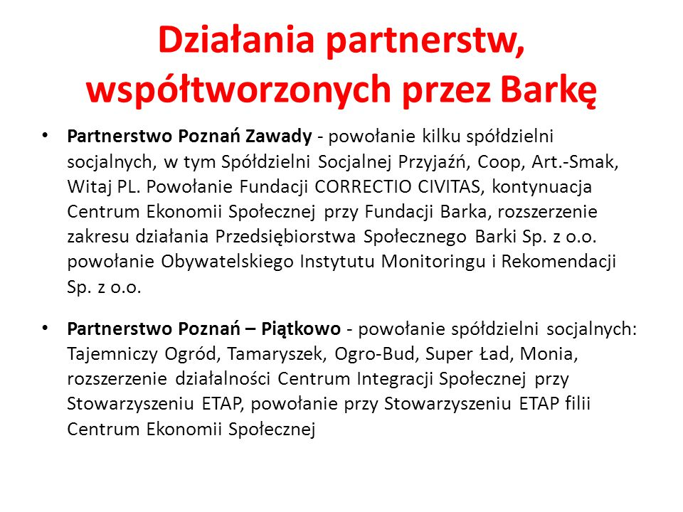Działania partnerstw, współtworzonych przez Barkę