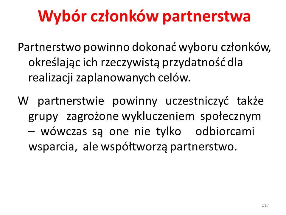 Wybór członków partnerstwa