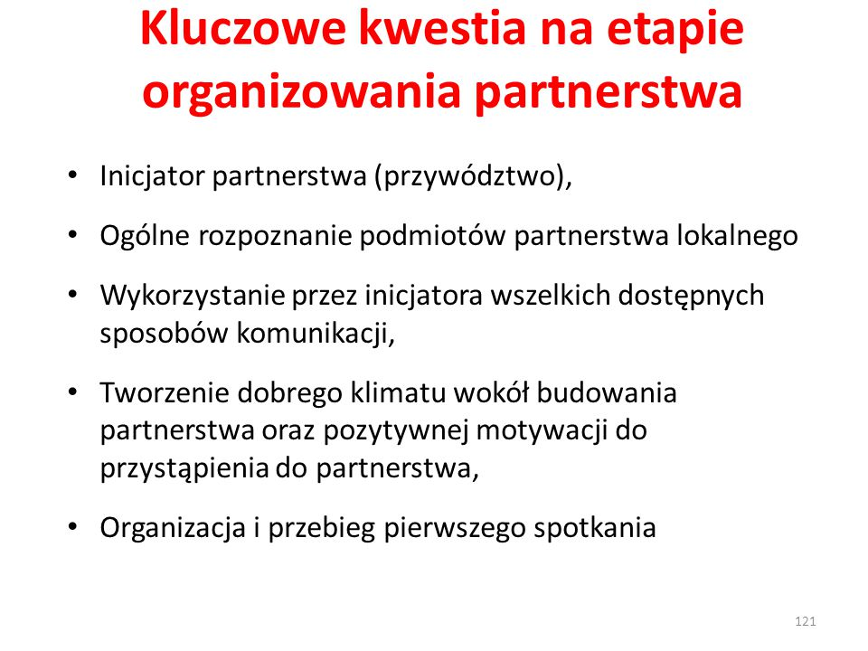 Kluczowe kwestia na etapie organizowania partnerstwa