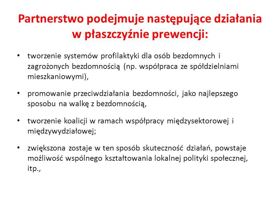 Partnerstwo podejmuje następujące działania w płaszczyźnie prewencji: