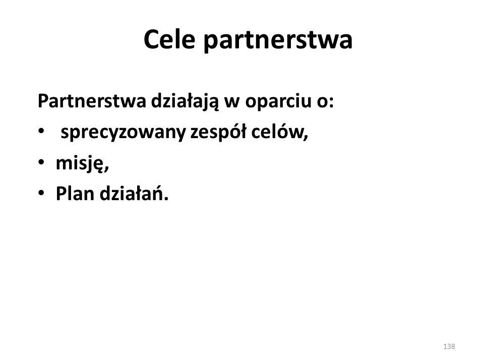 Cele partnerstwa Partnerstwa działają w oparciu o: