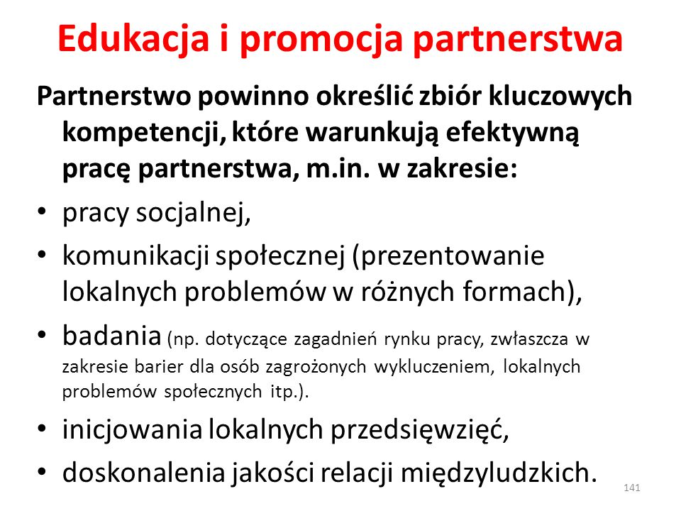 Edukacja i promocja partnerstwa