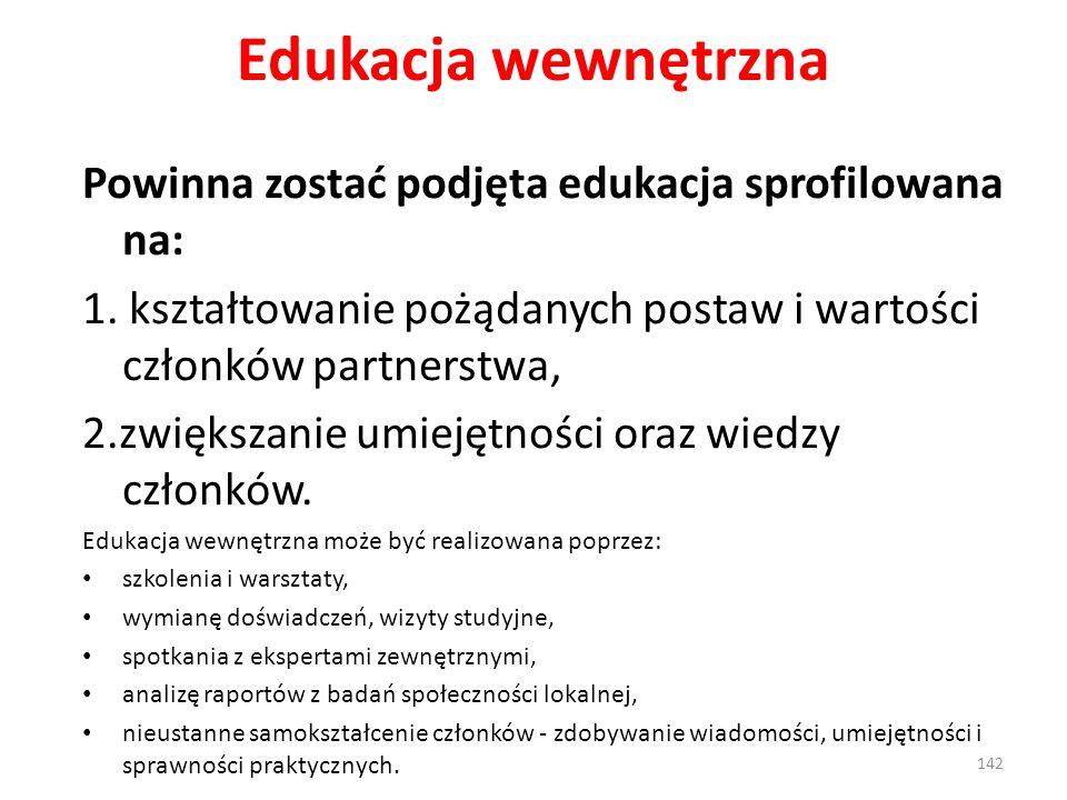 Edukacja wewnętrzna Powinna zostać podjęta edukacja sprofilowana na: