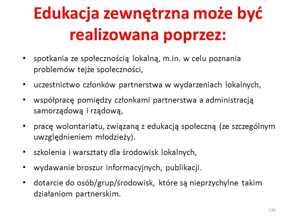 Edukacja zewnętrzna może być realizowana poprzez: