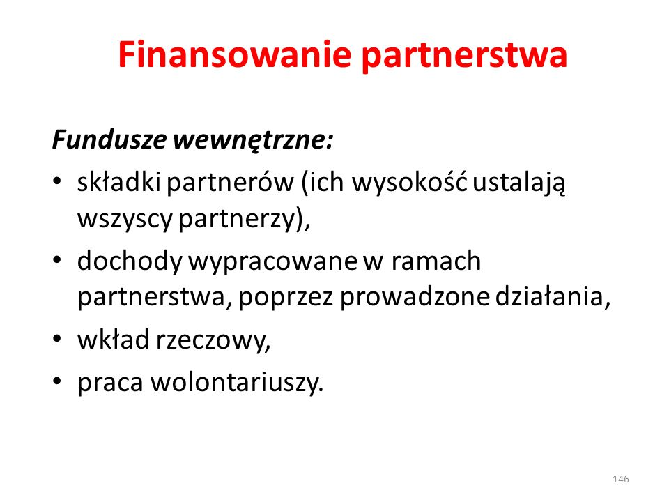 Finansowanie partnerstwa