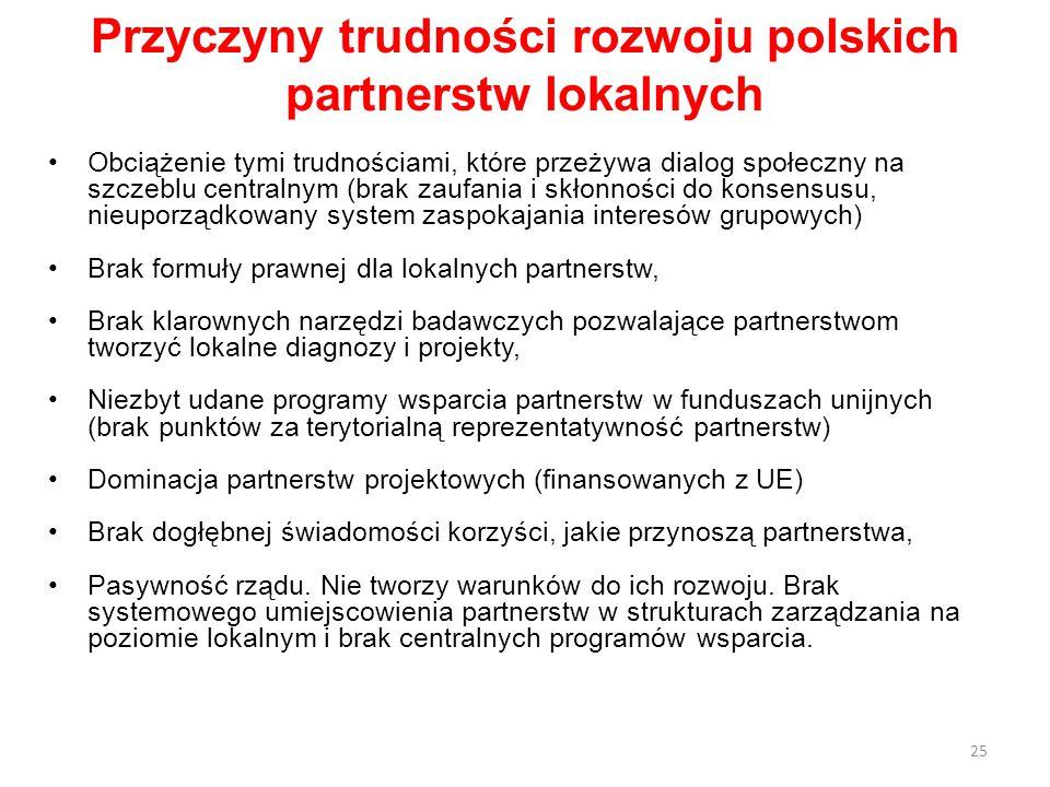 Przyczyny trudności rozwoju polskich partnerstw lokalnych