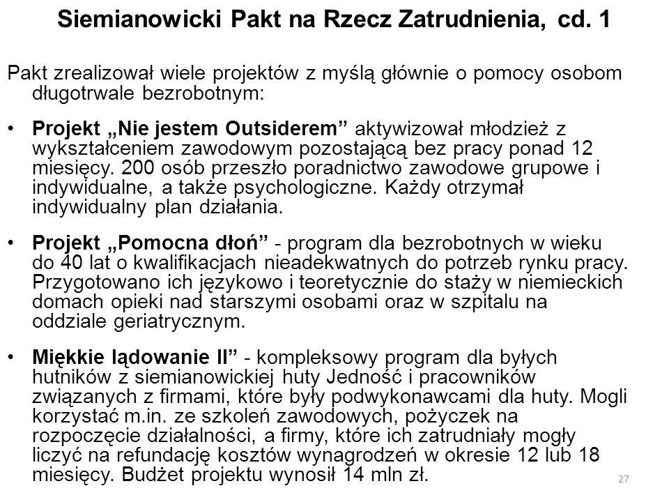 Siemianowicki Pakt na Rzecz Zatrudnienia, cd. 1