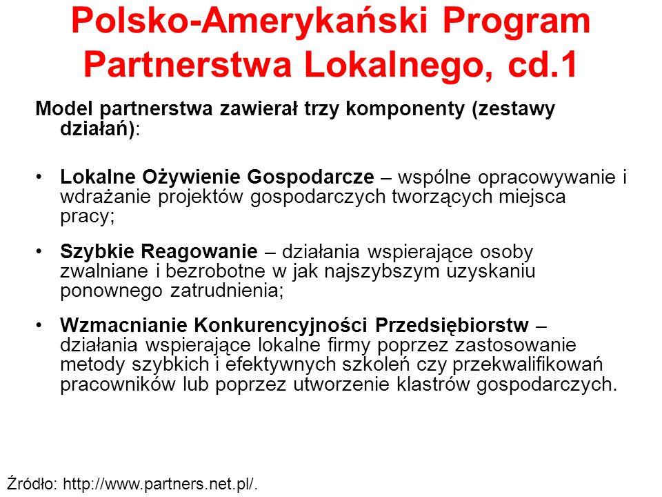Polsko-Amerykański Program Partnerstwa Lokalnego, cd.1