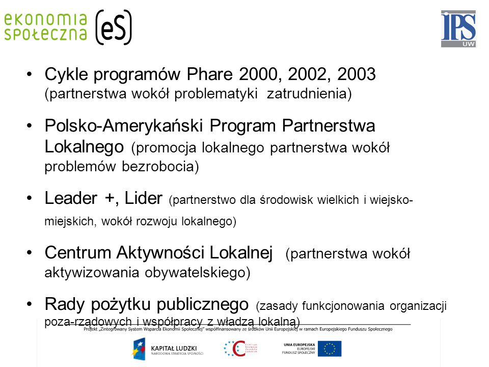 Cykle programów Phare 2000, 2002, 2003 (partnerstwa wokół problematyki zatrudnienia)