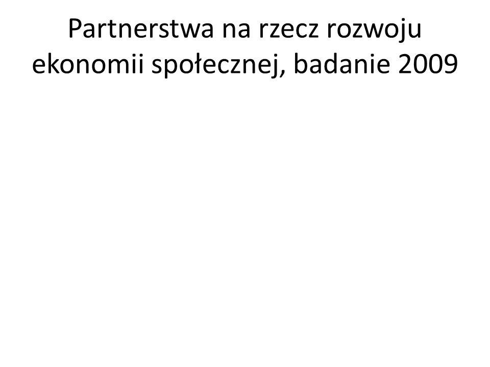 Partnerstwa na rzecz rozwoju ekonomii społecznej, badanie 2009