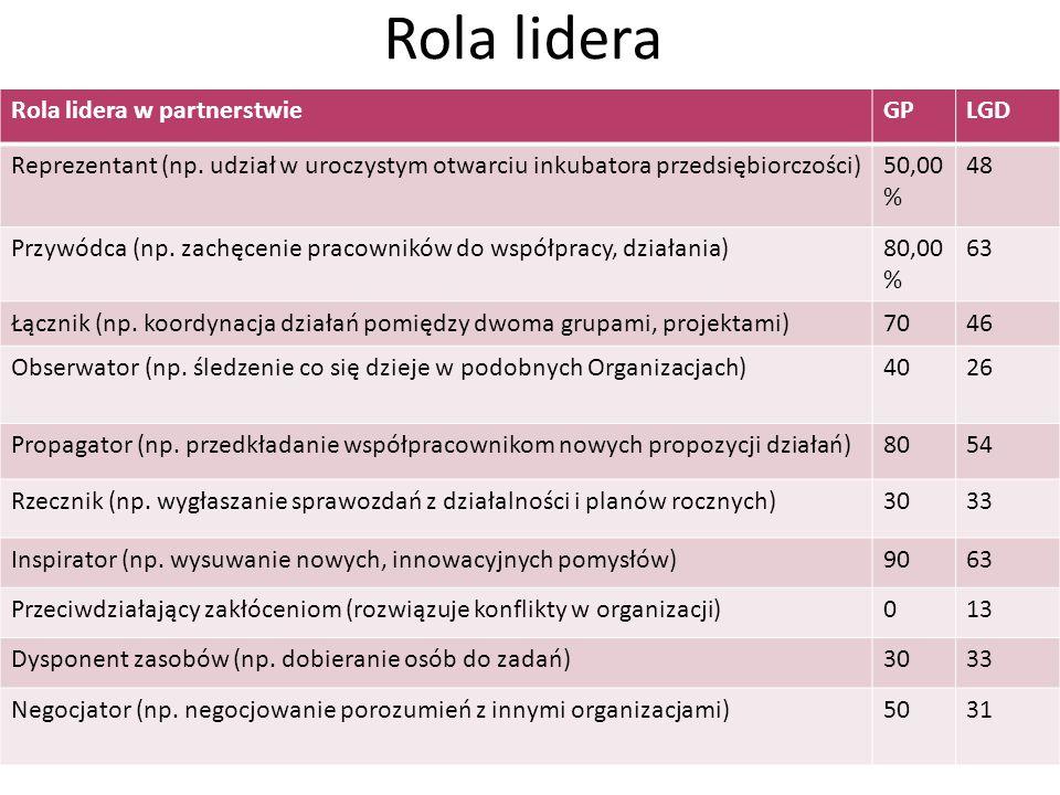 Rola lidera Rola lidera w partnerstwie GP LGD