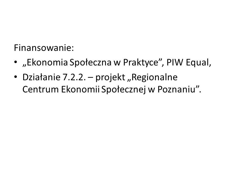 """Finansowanie: """"Ekonomia Społeczna w Praktyce , PIW Equal, Działanie 7.2.2."""