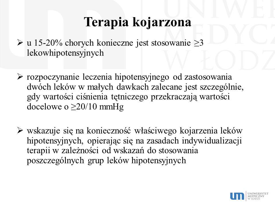 Terapia kojarzona u 15-20% chorych konieczne jest stosowanie ≥3 lekowhipotensyjnych.