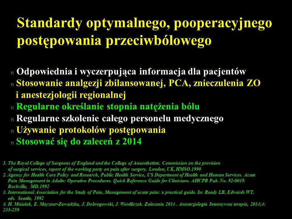 Standardy optymalnego, pooperacyjnego postępowania przeciwbólowego