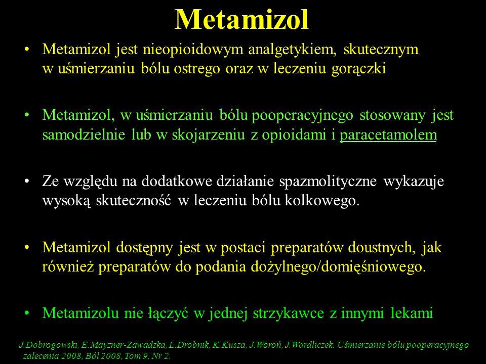 Metamizol Metamizol jest nieopioidowym analgetykiem, skutecznym w uśmierzaniu bólu ostrego oraz w leczeniu gorączki.