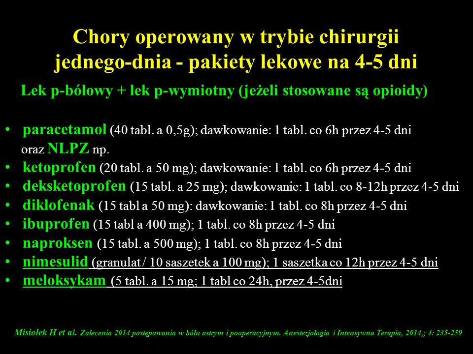 Lek p-bólowy + lek p-wymiotny (jeżeli stosowane są opioidy)