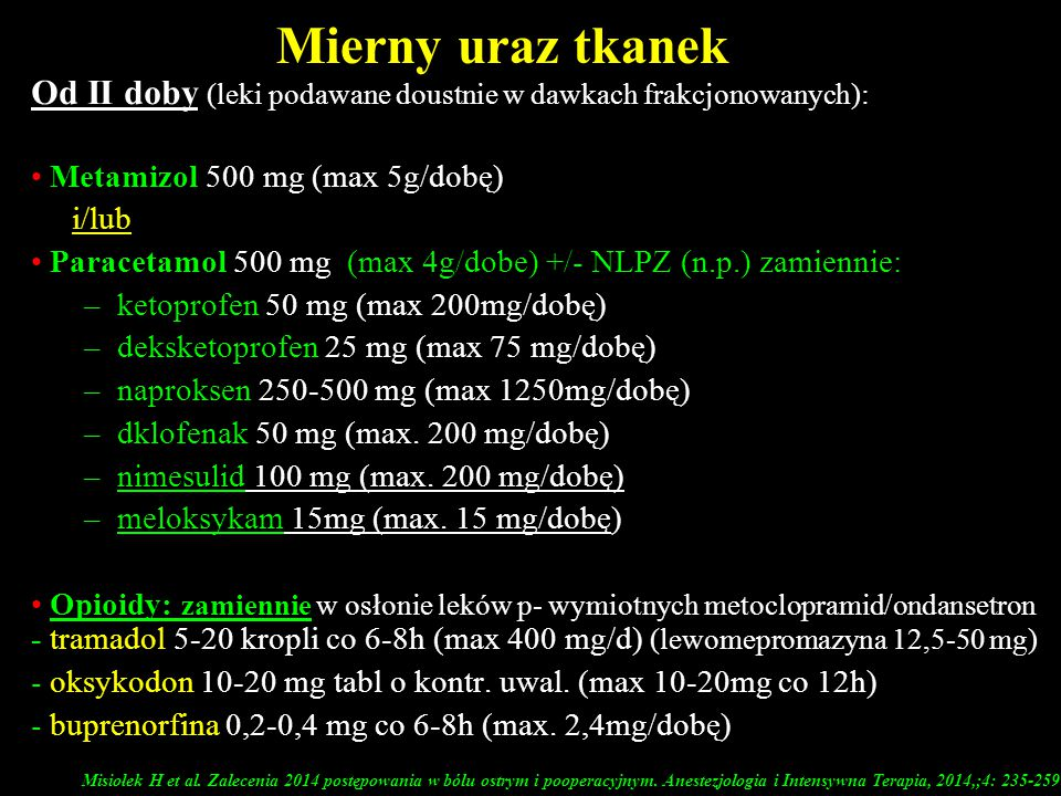 Mierny uraz tkanek Od II doby (leki podawane doustnie w dawkach frakcjonowanych): Metamizol 500 mg (max 5g/dobę)