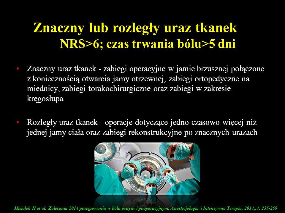 NRS>6; czas trwania bólu>5 dni