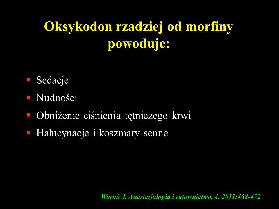 Oksykodon rzadziej od morfiny powoduje: