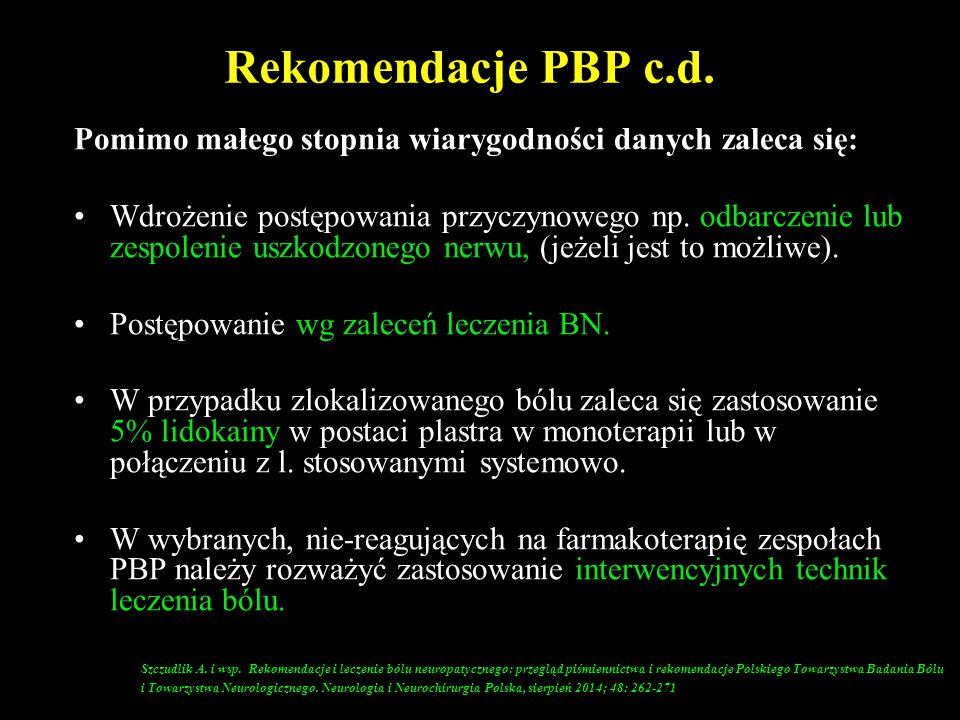 Rekomendacje PBP c.d. Pomimo małego stopnia wiarygodności danych zaleca się: