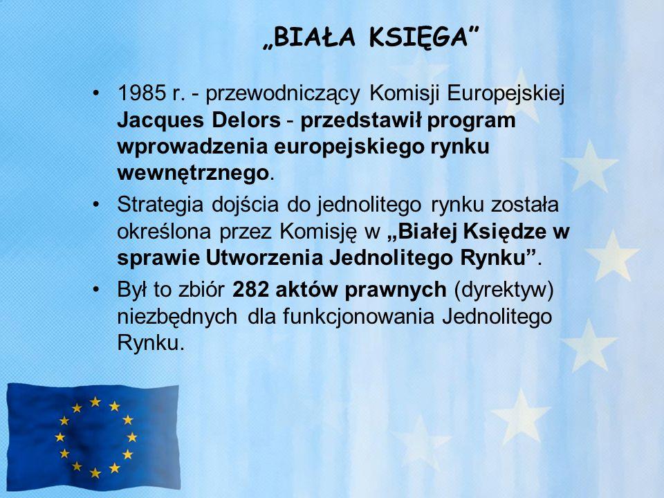 """""""BIAŁA KSIĘGA 1985 r. - przewodniczący Komisji Europejskiej Jacques Delors - przedstawił program wprowadzenia europejskiego rynku wewnętrznego."""
