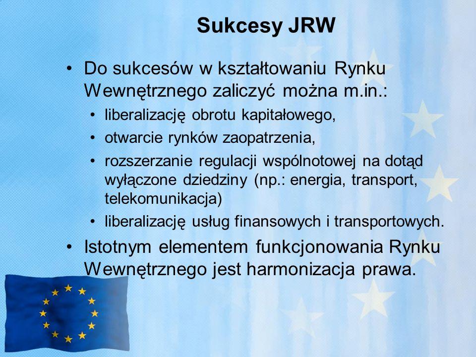 Sukcesy JRW Do sukcesów w kształtowaniu Rynku Wewnętrznego zaliczyć można m.in.: liberalizację obrotu kapitałowego,