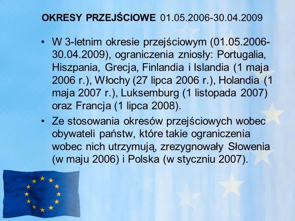 OKRESY PRZEJŚCIOWE 01.05.2006-30.04.2009