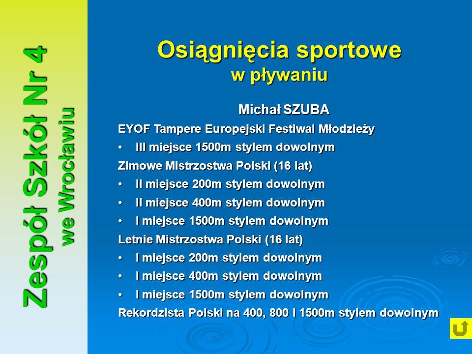 Osiągnięcia sportowe w pływaniu Zespół Szkół Nr 4 we Wrocławiu