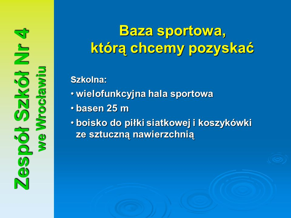 Baza sportowa, którą chcemy pozyskać Zespół Szkół Nr 4 we Wrocławiu