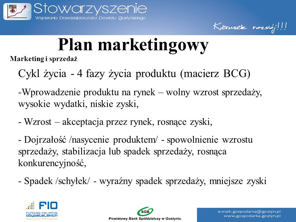 Plan marketingowy Cykl życia - 4 fazy życia produktu (macierz BCG)