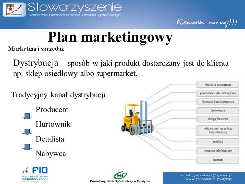 Plan marketingowy Marketing i sprzedaż. Dystrybucja – sposób w jaki produkt dostarczany jest do klienta np. sklep osiedlowy albo supermarket.