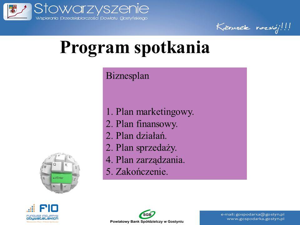 Program spotkania Biznesplan 1. Plan marketingowy. 2. Plan finansowy.