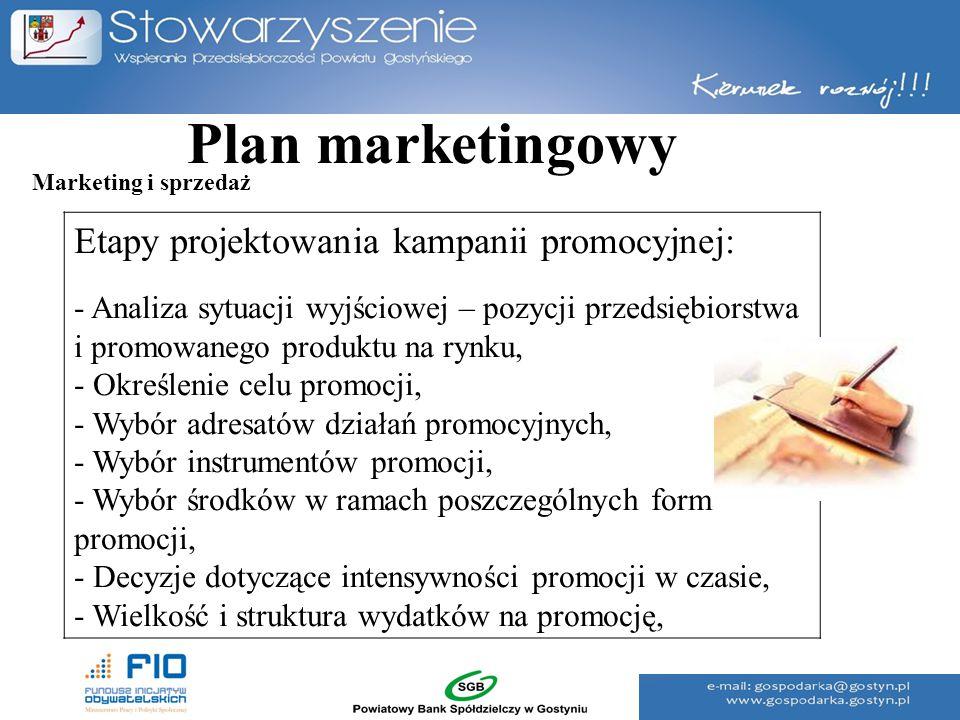 Plan marketingowy Etapy projektowania kampanii promocyjnej: