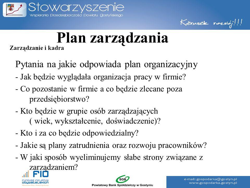 Plan zarządzania Pytania na jakie odpowiada plan organizacyjny